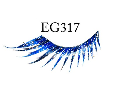 Glittery Feathery Eyelashes Blue EG317