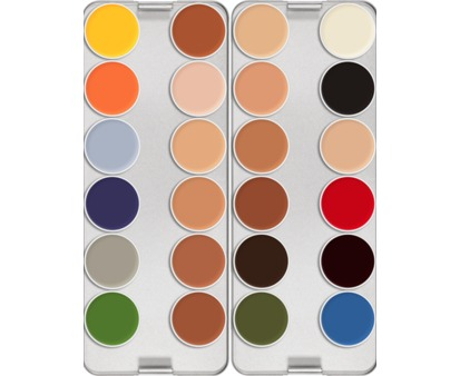 Kryolan Rubber Mask Grease Palette 24 Colours